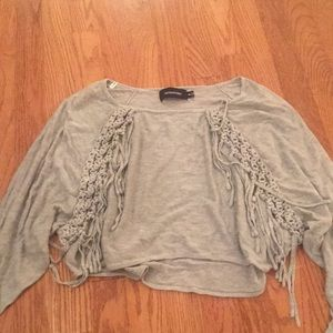 Mink pink cropped gray sweater with fringe!